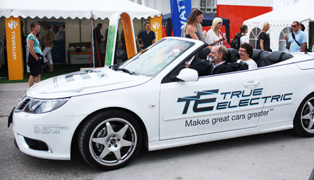 A SAAB 9-3 Convertible fitted with the Electroengine True Electric system.