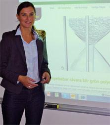 """""""用可再生原料生产常用的聚乙烯,必将带来一场变革。"""" Susanne Thygesson说。"""
